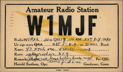 Call Sign W1MJF - Harold Eastham, Goodyear