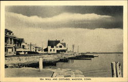Sea Wall and Cottages Postcard