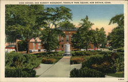 High School and Burrett Monument, Franklin Park Square