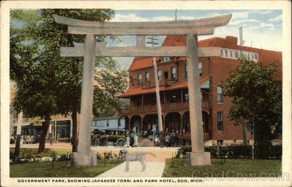 Government Park, Showing Japanese Torri and Park Hotel Soo Michigan