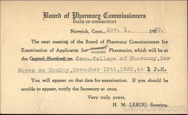 Board of Pharmacy Commissioners. State Of Connecticut