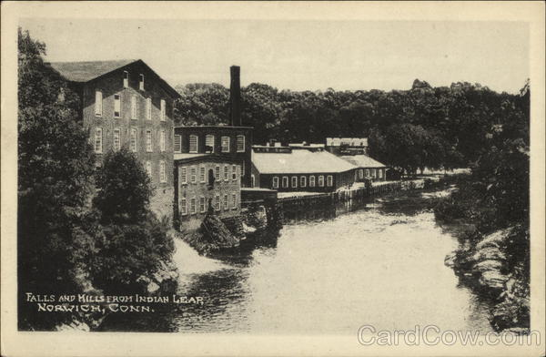 Falls and Mills from Indian Lear Norwich Connecticut