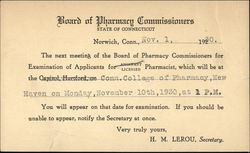 Board of Pharmacy Commissioners. State Of Connecticut Postcard