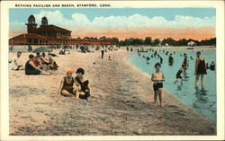 Bathing Pavilion and Beach Postcard