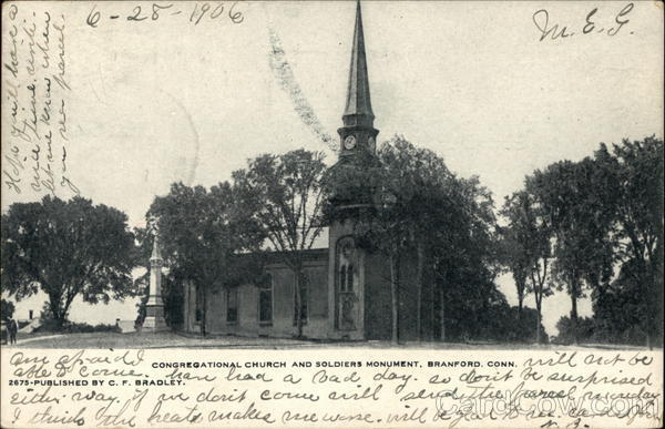 Congregational Church and Soldiers Monument Branford Connecticut