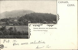 Canaan Mountain and Church Hall from Railroad Station Postcard