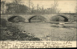 Norwalk River and New Canaan Bridge Postcard