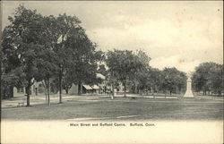 Main Street and Suffield Center Postcard