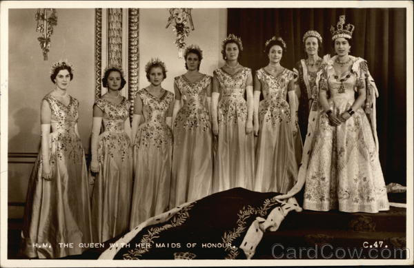 Queen Elizabeth II and Maids of Honour Coronation Royalty