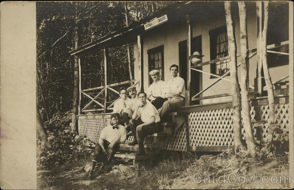 Snapshot of Men on Porch Stairs Winsted Connecticut