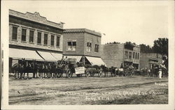 R. R. Construction teams leaving (Main) St. Fallon July 23 - 1912 Postcard