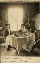1909 Snapshot of Family in Dining Room