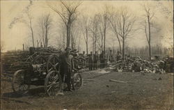 Workers Posing in a Lumberyard, Steam Tractor