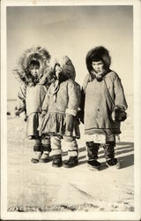 Three Eskimo Children Postcard