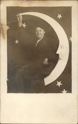 Woman Posing on Paper Moon
