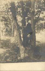 Well Dressed Man at Base of Tree Postcard