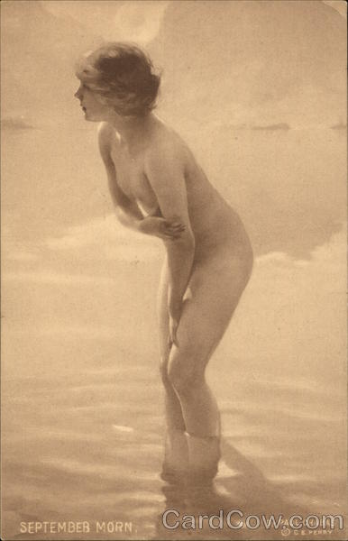 Nude Young Girl Bathing - September Morn Risque & Nude