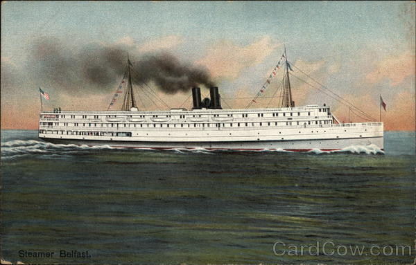 The Steamer Belfast At Sea Steamers