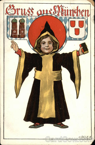 German Language Greetings from Munchen Boy with Friar's Robe