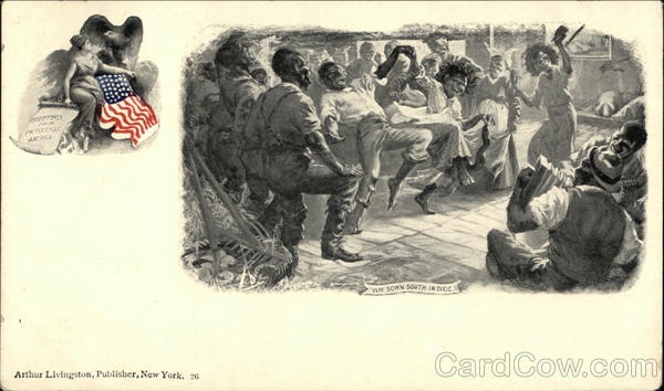 Black People Dancing and Playing Music Illustration