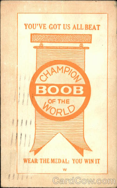 Champion Boob of the World Medal Comic, Funny