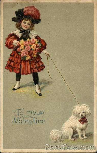Little Girl with Flowers and Dog on a Leash Children