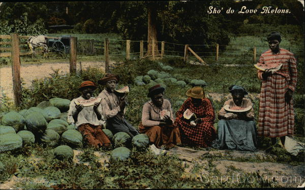 Black People Eating in Watermelon Patch Black Americana