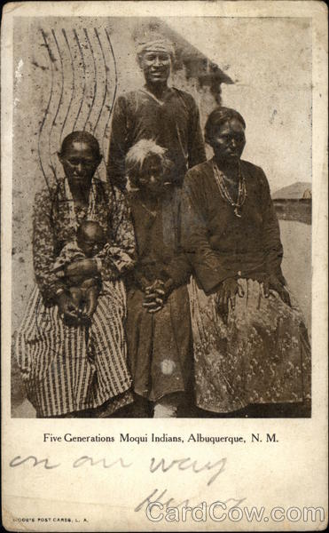 Five Generations Moqui Indians, Albuquerque, N.M. Native Americana