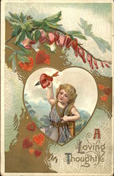 Cupid in a Heart with Flowers and Spiderwebs