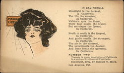 Drawing of a portrait of woman's head with California poem