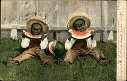 Small Black Children Eating Watermelon