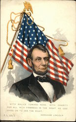 Abraham Lincoln in Front of U.S. Flag