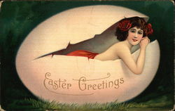 Woman in Easter Egg - Easter Greetings