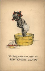 Black Child Bathing in Washbucket