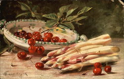 Still Life with Cherries and White Asparagus