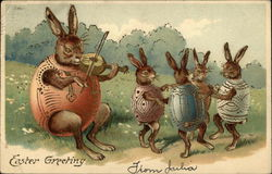 Rabbits Dressed in Eggshells Dancing to Music