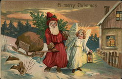 Santa with Sleigh and Angel with Lamp