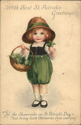 Child Wearing Green Carrying Basket