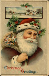 Christmas Greetings - Santa Claus with Sack of Toys