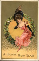 A Happy New Year: Wreath with a Woman Wearing a Hat