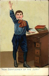 Little Boy Standing at a Desk and Raising His Hand