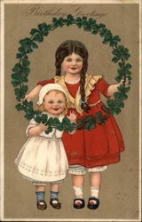 Two Children Holding Wreath of Clover