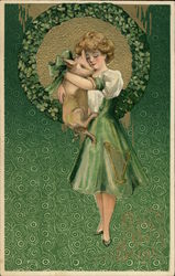 Girl with Green Dress and Pig Postcard