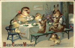 Rabbit and Chick Family at Table Eating Eggs