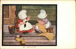 Mending Day: Two Women in Bonnets Mending on a Porch