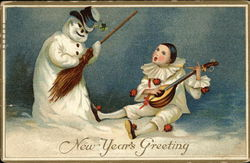 Snowman and Man Playing Lute