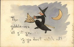 Rare Halloween Witch on a Broomstick
