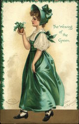 Woman With Green Dress and Bonnet
