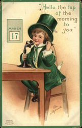 St. Patrick's Child Using Telephone