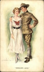 WWI Soldier and Woman Embracing